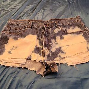Levi's distressed bleach custom made Jean shorts